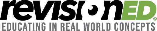 revisioned eduating in real world concepts logo and caption